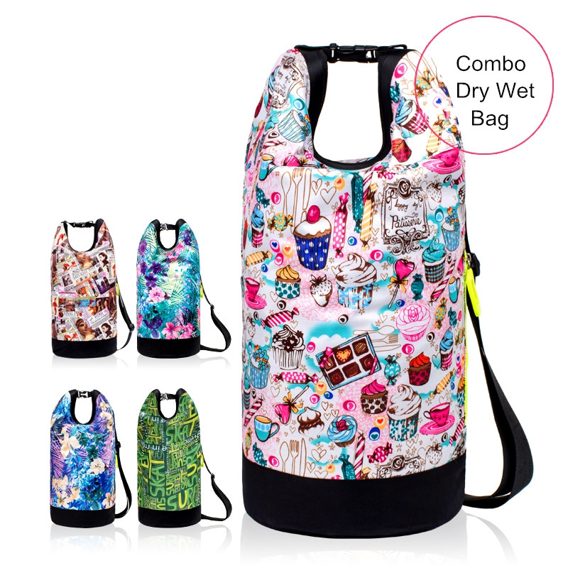 New 6 Colors Print Swimming Bags Combo Dry Wet Bag Portable Handbag Shoulder Bag Outdoor Waterproof Travel Sports Storage Pouch gym bag women s bag tide shoulder yoga bag portable sports training bag dry and wet separation waterproof swimming bag