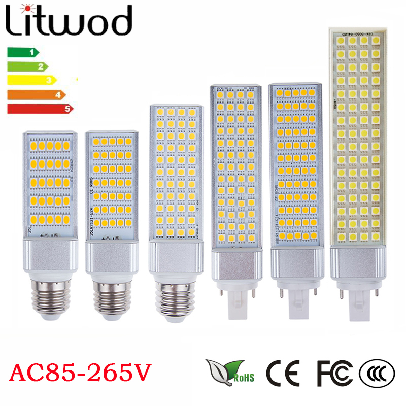 z30 Lampada G23 G24 E27 E14 5W 7W 9W 11W 12W 13W 85V-265V/AC Horizontal Plug lamp SMD5050 Bombillas LED Corn Bulb Spot light free shipping 30 pcs g24 g23 e27 12w smd 5050 60 led pl corn bulb led plc droplight 930lm led transverse inserted light