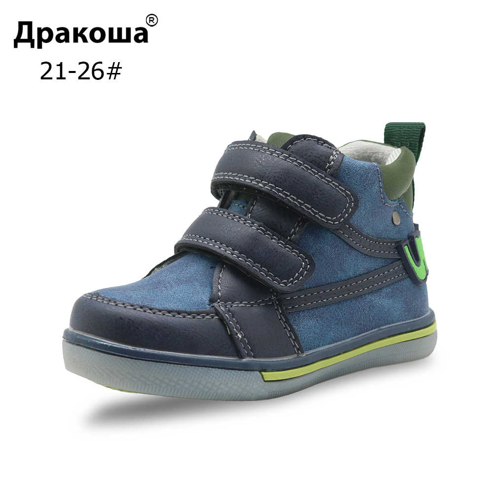 Apakowa Boys Shoes Autumn Kids Pu Leather Ankle Boots Sports Sneakers Flat Children's Shoes for Toddler Kids with Arch Support
