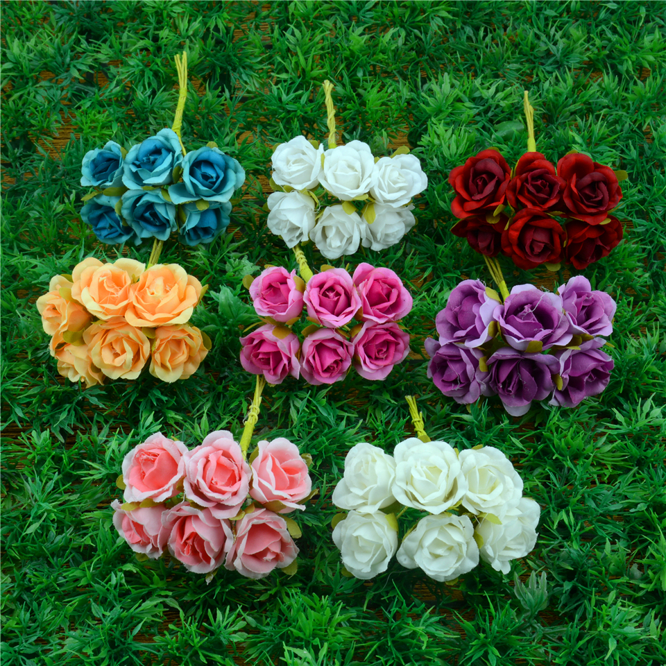 Popular mini silk artificial flowers bouquet buy cheap mini silk 6pcslot 2cm silk gradient mini rose artificial flower bouquet for wedding decoration diy wreath mightylinksfo