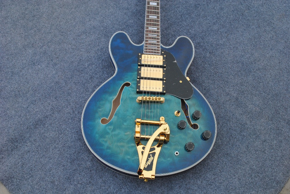 Semi Hollow body ES 335 Bigsby electric guitar qulited maple top guitara All color Available Free Shipping