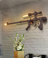 Loft Style American Country Personality Rust Iron Water Pipe Wall Lamp Bedroom Aisle Balcony Restaurant Wall Light Free Shipping
