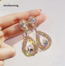 Brand S925 Silver Needle Super Flash Rhinestone Drop-Shaped Dangle Statement Earrings For Women Party Jewelry  Female Wild