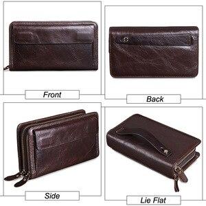Image 4 - MISFITS erkek debriyaj cüzdan hakiki deri marka tasarımcısı vintage uzun cüzdan kart tutucu erkek büyük çanta cep telefonu el çantası