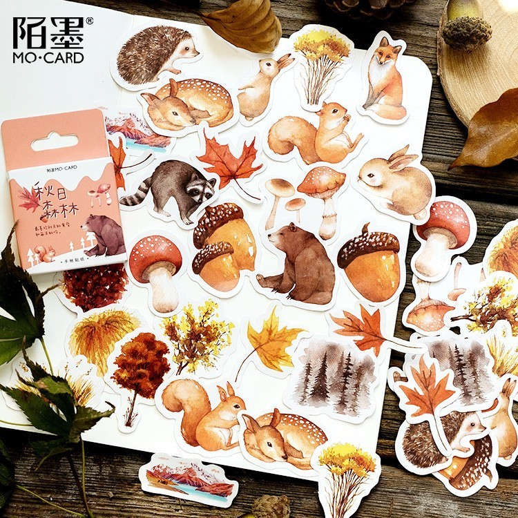 45PCS/box New Cute Autumn Forest Paper Lable Sealing Stickers Crafts Scrapbooking Decorative Lifelog DIY Stationery
