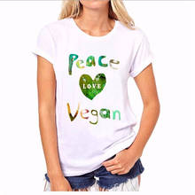 Create Shirts Crew Neck Peace Love Vegan Women Short Office Tee