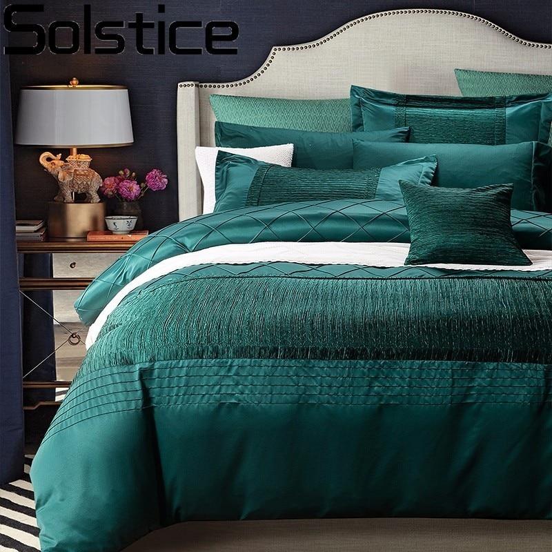 Solstice Textile de Maison Haut Niveau Haute Qualité De Luxe 4 pcs Ensembles De Literie De Soie Satin Draps Housse de Couette Taie D'oreiller Roi taille