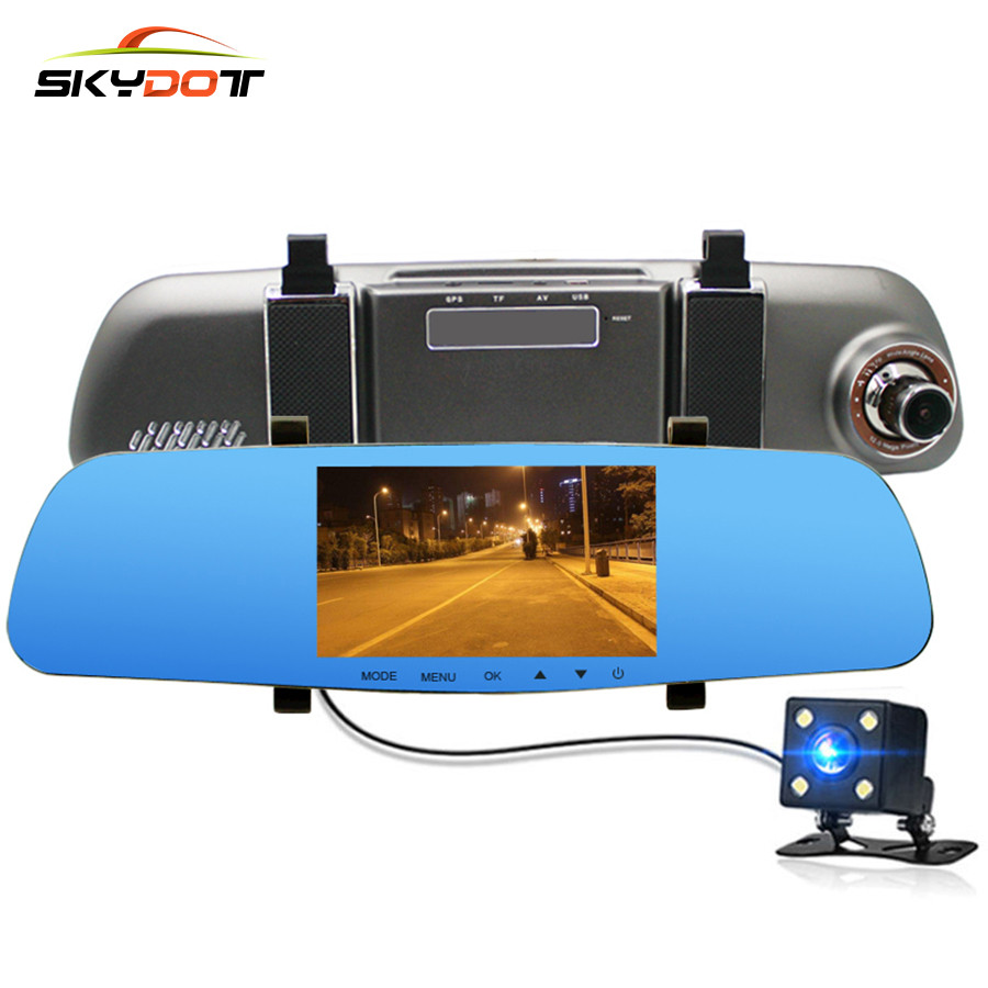 SKydot 5 Car Dvr Dash Cam Rearview Mirror With Front And Rear Camera Dual Lens Full HD 1080P Auto Digital Video Recorder DVRS 5 inch car camera dvr dual lens rearview mirror video recorder fhd 1080p automobile dvr mirror dash cam
