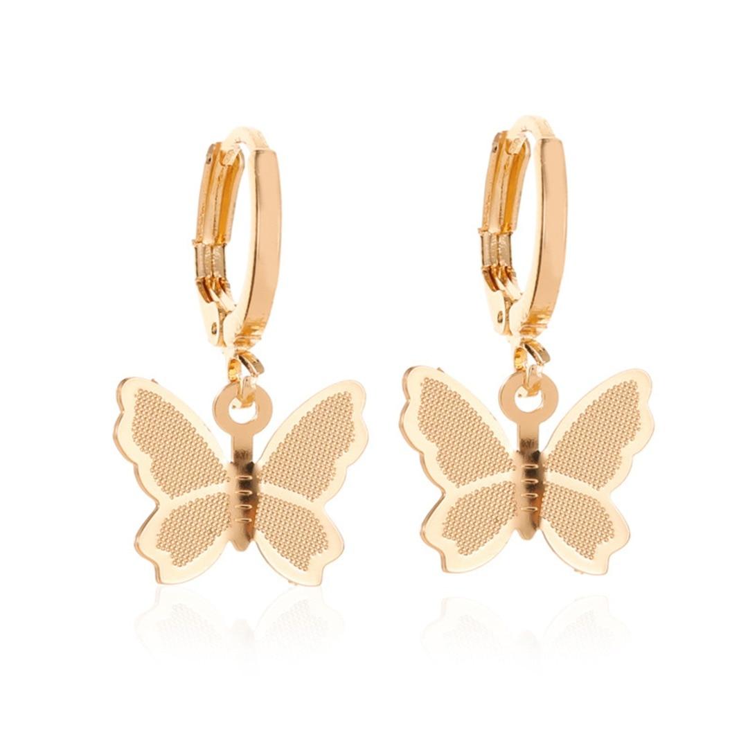 Trendy Butterfly Earring Charm Vintage Frosted Butterfly Hoop Huggie Earring Gold Silver Small Round Hoop Earring Ear Jewelry