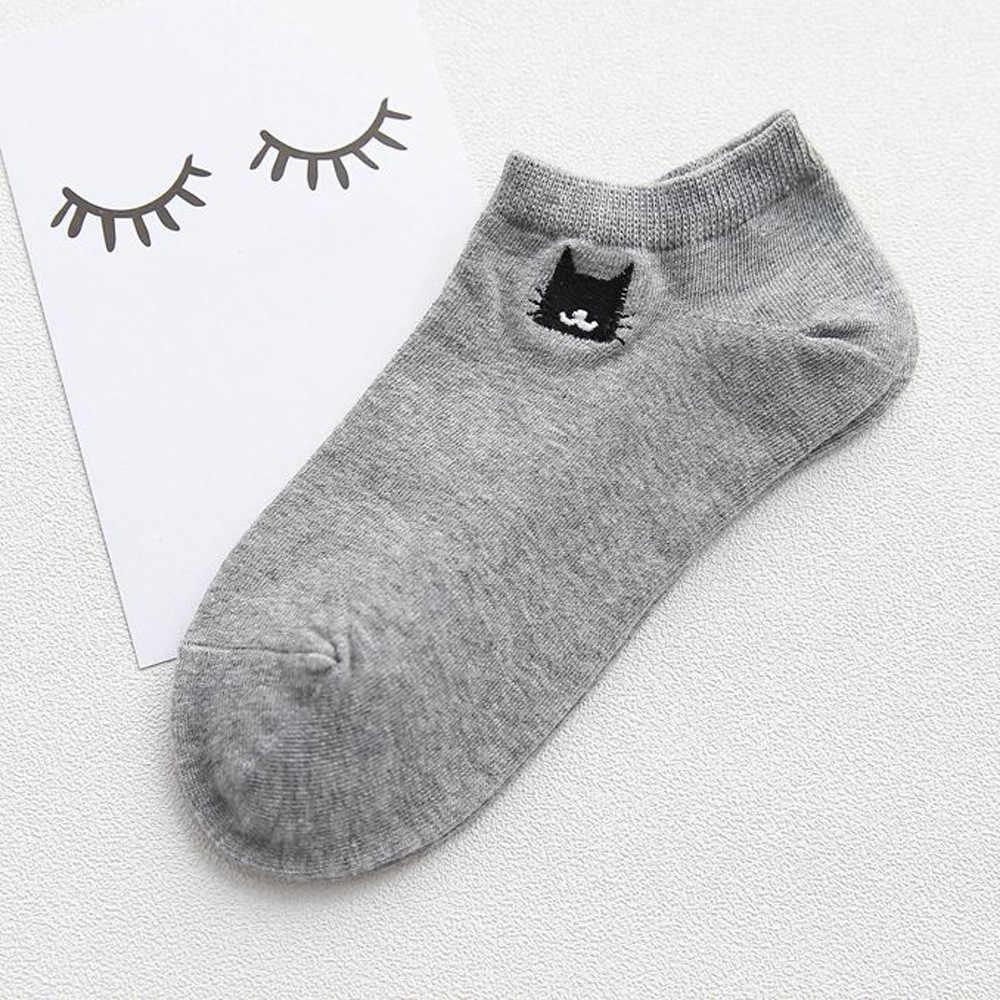 女性の綿の靴下クリエイティブおかしいソックス快適な漫画刺繍かわいい猫靴下女性靴下人気ドロップシッピング 2019 F3
