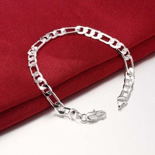 Wholesale Jewelry Silver Plated Bracelets 6mm Flat Three a Link Chain Womens