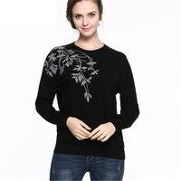 Чистый кашемир свитер Для женщин зимний кашемировый Пуловеры для женщин с длинным рукавом О Средства ухода за кожей шеи цветочный свитер то