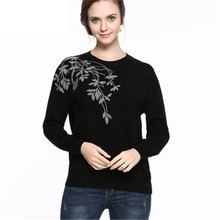 Pure Cashmere Sweater Women Winter Cashmere Pullovers Long Sleeve O Neck Floral sweater Slim Knitwear Jumper Plus Size 5XL 6XL