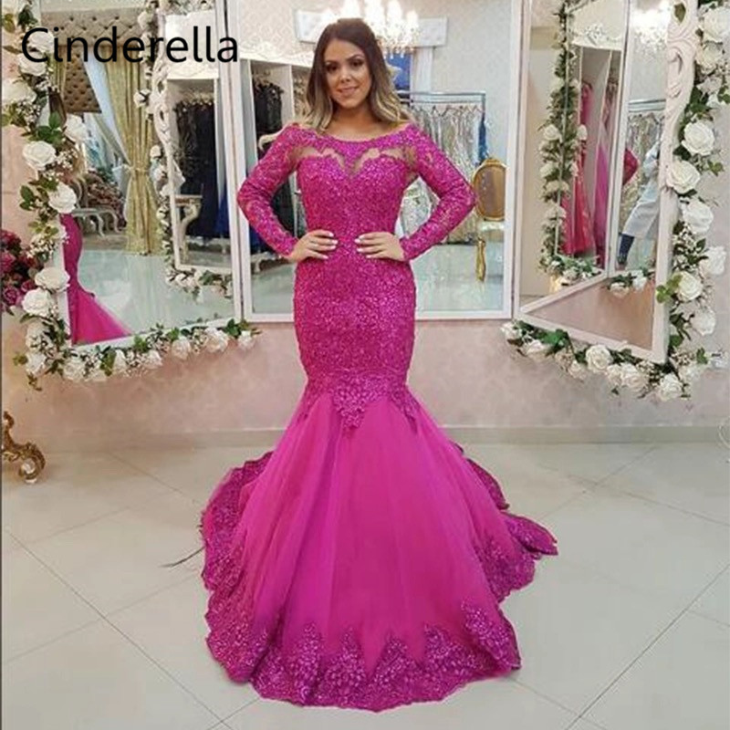 Cinderella Fushia Scoop Long Sleeves Lace Applique Crystal Beaded Mermaid Soft Tulle   Prom     Dresses   Lace Party Gown For   Prom