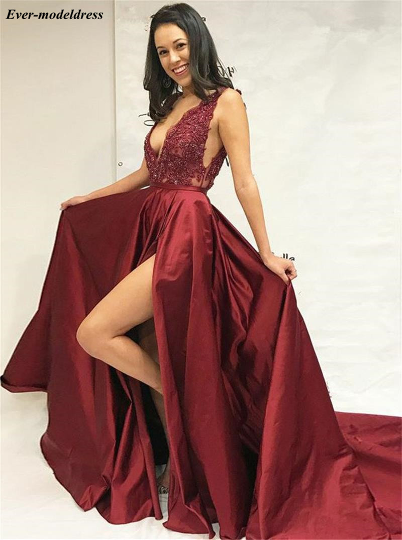 Sexy Deep V-Neck Burgundy   Prom     Dresses   A-Line 2019 Appliques Beaded Reflective Party Gowns With High Slit vestido de gala