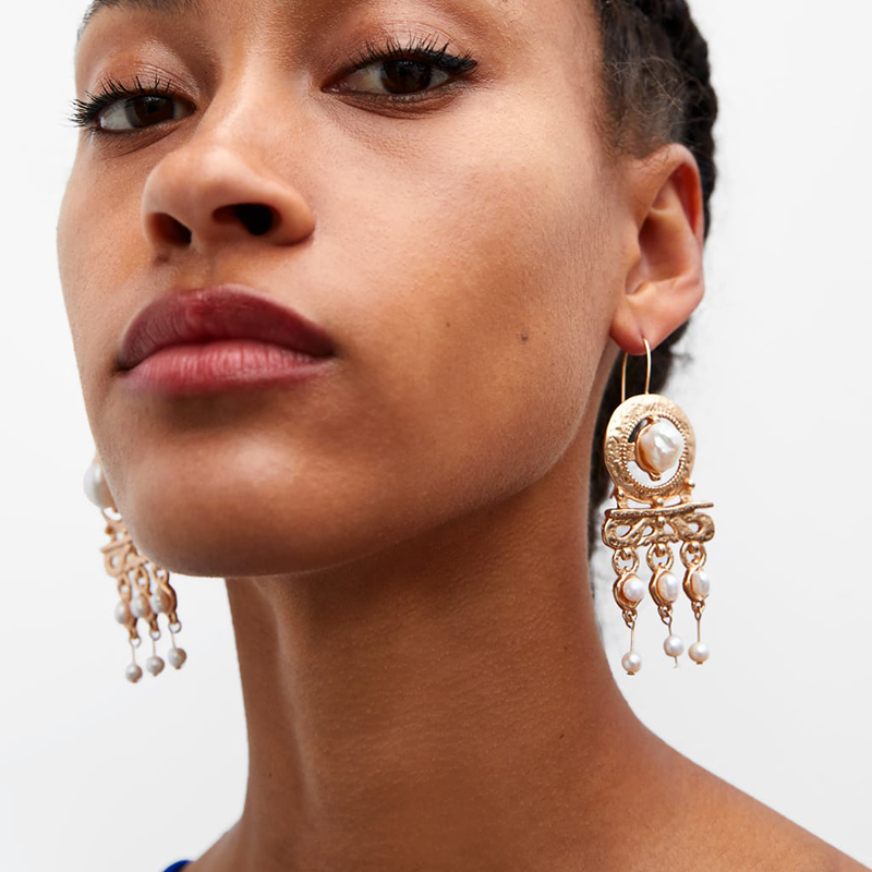 2019 Bohemia ZA Pearl <font><b>Drop</b></font> Dangle <font><b>Earrings</b></font> for Women <font><b>Elegant</b></font> Boho <font><b>Gold</b></font> Long Statement Tassels <font><b>Earring</b></font> Party Wedding <font><b>Jewelry</b></font> image
