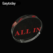 Easytoday 1Pcs Poker Chips Round All In Transparent Crystal Texas Casinos Special Accessories Red Engraving Typeface