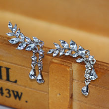 Top Crystal Leaves Long Earrings Silver Gold Color Rhinestone Hanging Earrings Fashion Wedding Jewelry for Women(China)