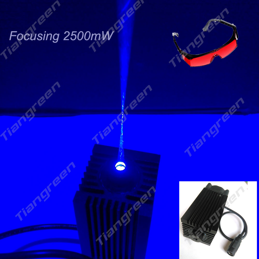 2500mW Blue Laser Light, 450nm blue laser pointer Burn Match,Focusing Laser head Engraving 445nm Laser Tube Diode with Glasses laser head owx8060 owy8075 onp8170