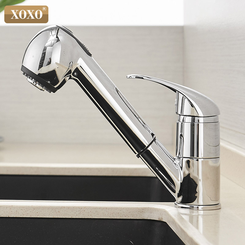 XOXO Kitchen Faucet 360 Degrees Pull Out Spray Cold And Hot Mixer Tap Crane Polished Black Of Water Saving Torneira Cozinha 3304