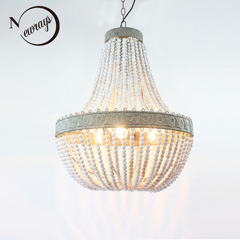 Retro Antique loft vintage rustic round wooden beads pendant lamp E27 lamps lights with led for