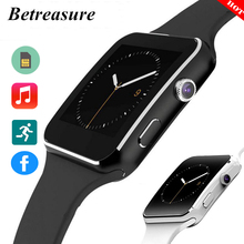 Betreasure Curved Screen Bluetooth X6 Smart Watch Clock For Android iOS Phone With Camera Support SIM