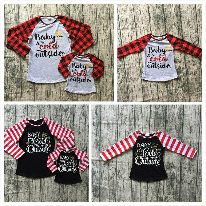 Otoño/Invierno bebé Niñas Ropa de los niños boutique familia mamá algodón camiseta raglans de bebé de manga larga es hace frío afuera
