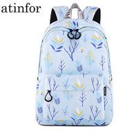 Fashion Waterproof Polyester Women Backpack Blue Trees Leaves Pattern Printing Female Bagpack Girls Daily Bookbags