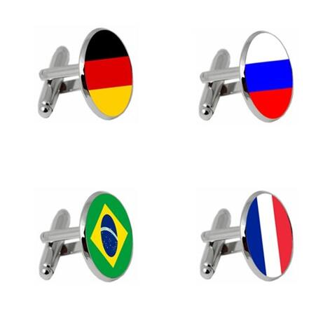 National Emblem Cufflinks Germany/France/Russia/Brazil National Emblem Flag Cuff Links Cuff Button Men's Jewelry Party 20pairs-in Tie Clips & Cufflinks from Jewelry & Accessories    1