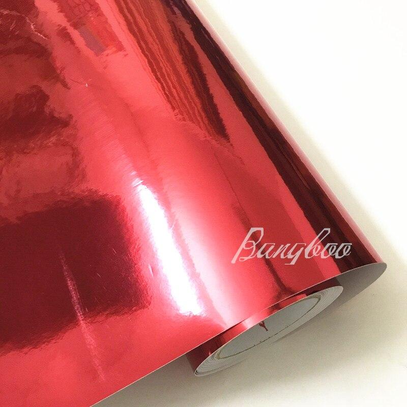 1.52*18 m vinyle rouleaux en gros voiture décoration autocollant haute extensible miroir rouge Chrome vinyle Wrap