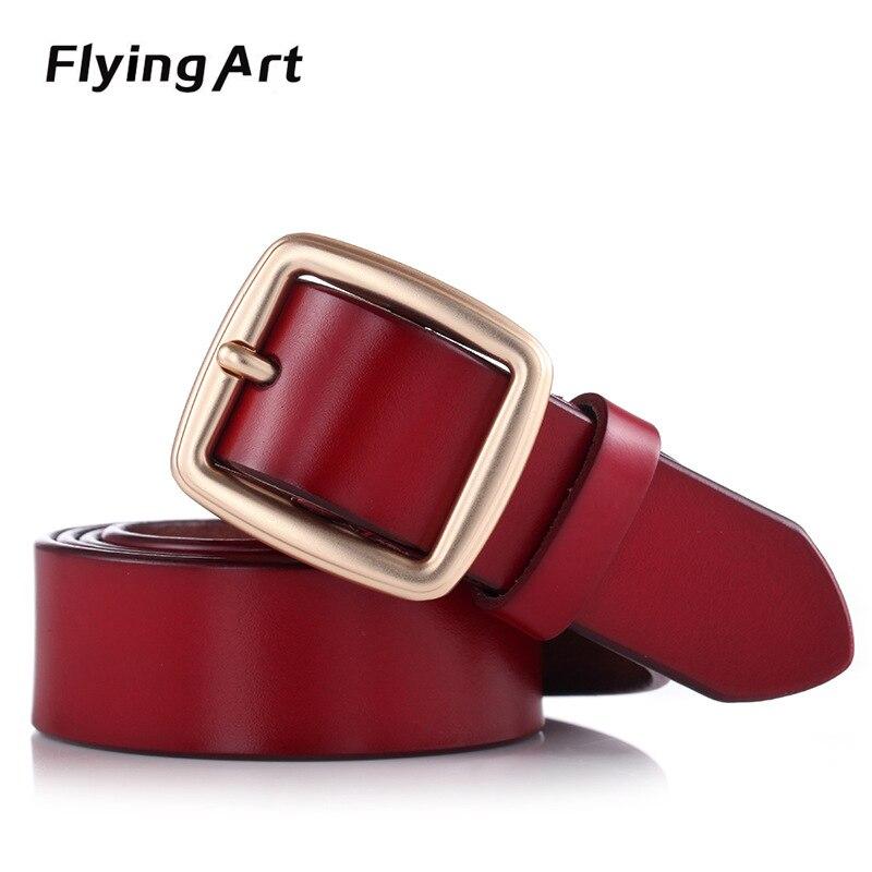 Flying Art Fashion Brand Genuine Leather Belts for Women Vintage Floral Design Cowskin Belt Woman Top Quality Women belt