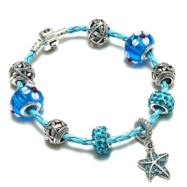 Sky Blue Braided Leather Charm Bracelet Cute Flowers Pendant Snap Clasp Snake Brand Diy Bracelets For European Beads Jewelry