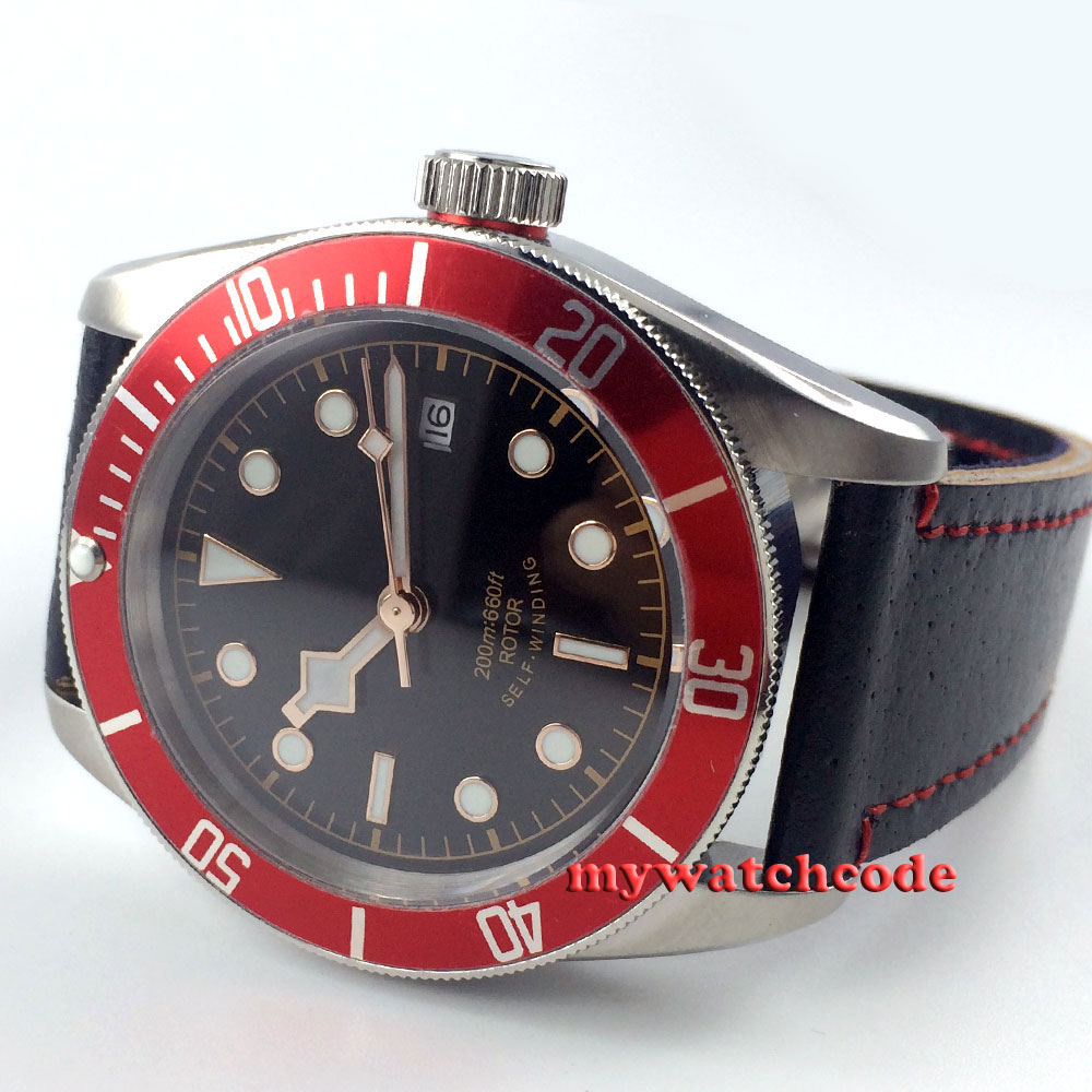 41mm corgeut black dial red bezel Sapphire Glass miyota Automatic mens Watch polisehd 41mm corgeut black dial sapphire glass miyota automatic mens watch c102