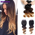 Indian soul lady virgin hair 3 bundles with closure 1b/4/27 ombre hair 3 tone blonde 3 bundles with closure Christmas new star