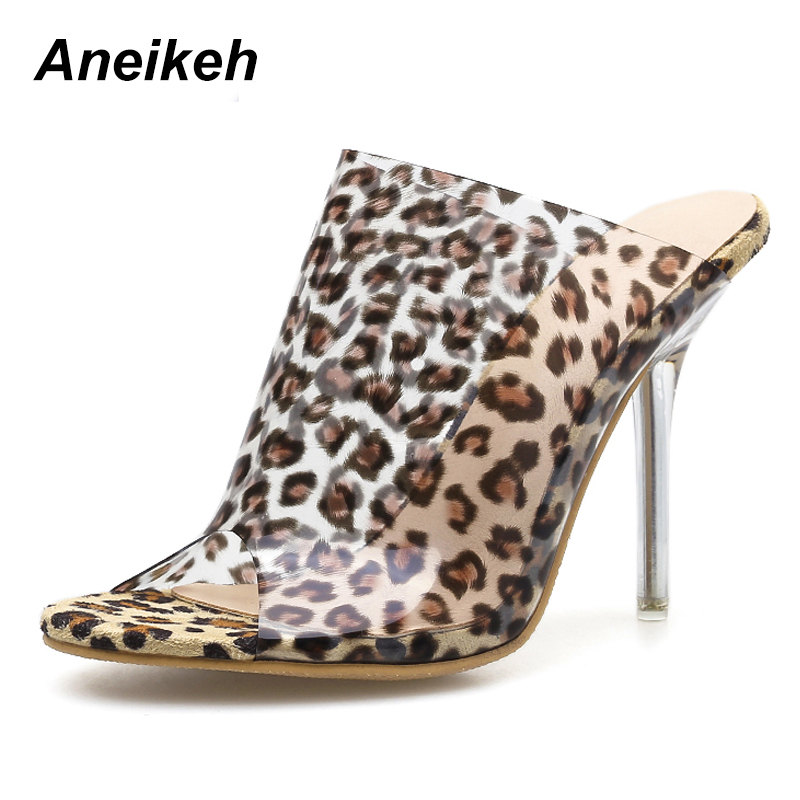 Aneikeh PVC Women Slippers Leopard Print Heels Pointy Toe Stiletto Heels 11CM Mules Summer Women Shoes Female Outdoor SlippersAneikeh PVC Women Slippers Leopard Print Heels Pointy Toe Stiletto Heels 11CM Mules Summer Women Shoes Female Outdoor Slippers