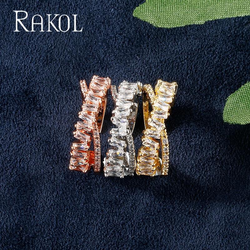 RAKOL Top New Fashion AAA Cubic Zircon Multi-layered Thin Rings X Shape Cuff Copper Base Open Ring For Women Gift RR2222K