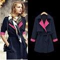 2016 Hot Sale New Hit Color Stitching Slim Dark Blue Long Coat Ms. Windbreaker Jacket C206