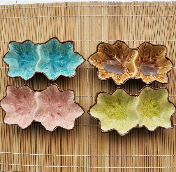 Lovely Color Leaf Ceramics Sushi Plate Cute Dishes Dinnerware <font><b>Set</b></font> Household Supplies 4pcs/lot DC668