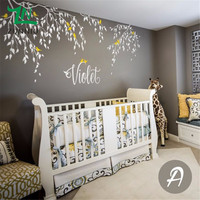 T05059 Home Kids Bedroom Decor Falling Leaves Creative Mural Branches Wall Decals Birds With Custom Name Tree Vinyl Wall Sticker