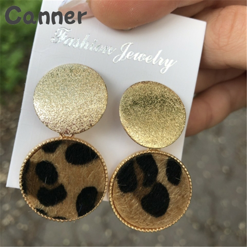 Canner Big Round <font><b>Earrings</b></font> For <font><b>Women</b></font> <font><b>Sexy</b></font> Leopard <font><b>Earrings</b></font> Gold Big Geometric Drop <font><b>Earrings</b></font> <font><b>Long</b></font> Dangle Jewelry Gift Pendientes 4 image