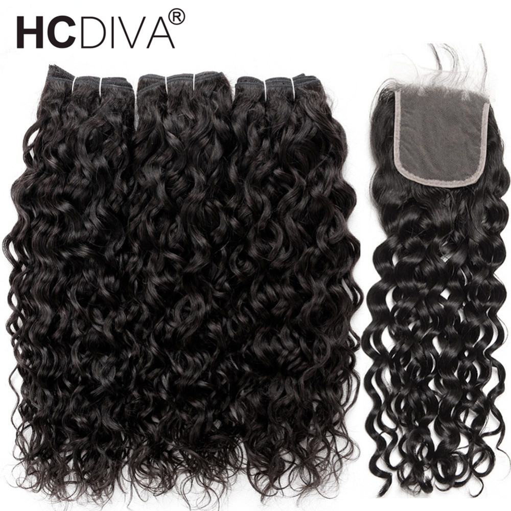 Brazilian Water Wave 3 Bundles With Closure Human Hair Water Wave Bundles With Closure Remy Human