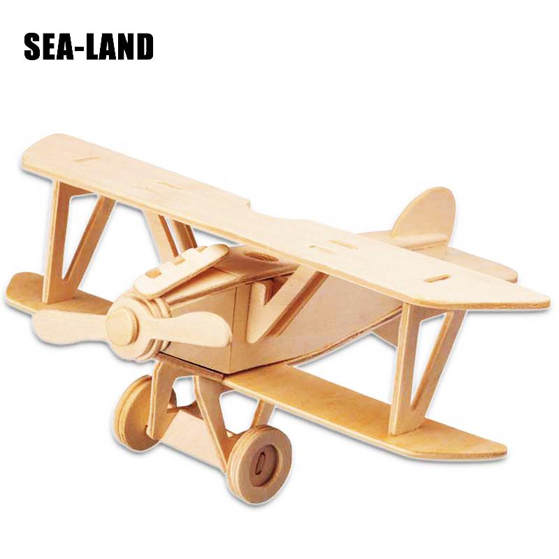Aircraft Wooden Puzzle Toys For Children 3D Montessori Educational DIY Toys Home Decoration Toy Hobby Gift For Adult Kids