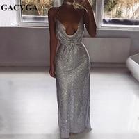 GACVGA 2019 Shine Crystal Metal Long Dress Women Backless Summer Maxi Dress Split Sexy Party Dresses Vestidos