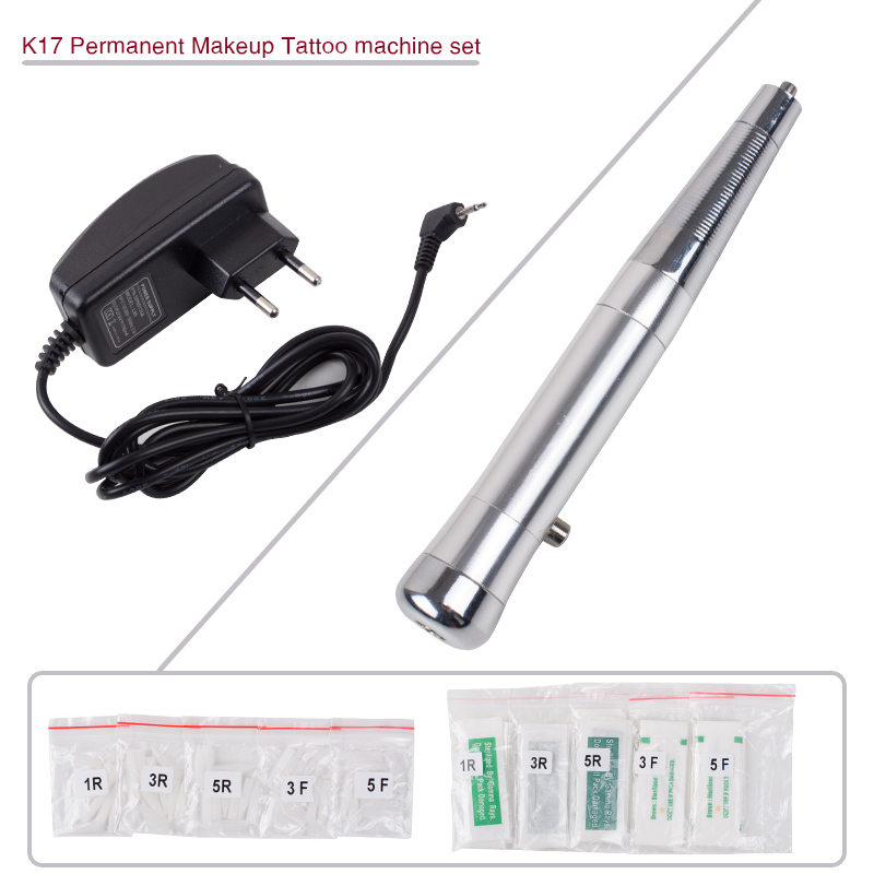 New Professional Permanent Makeup Tattoo Eyebrow Pen Machine Make up kit with 50 Needles 50 Tips EU or US Plugs U-Pick K17 недорго, оригинальная цена