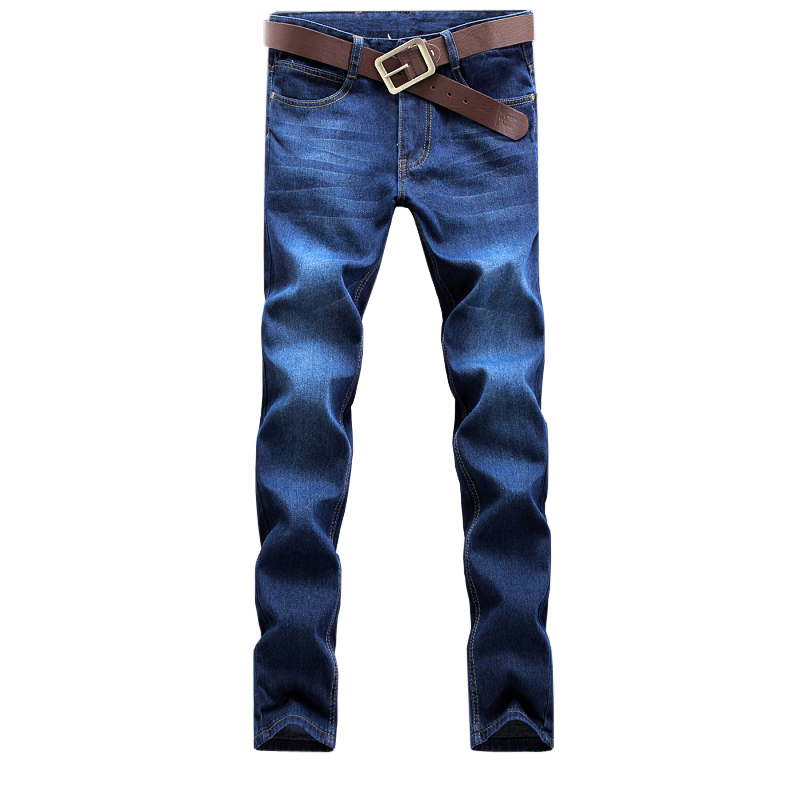 2016 New Fashion Men Casual Jeans Slim Straight High Elasticity Feet Jeans Loose Waist Long Trousers Cotton Denim Pants