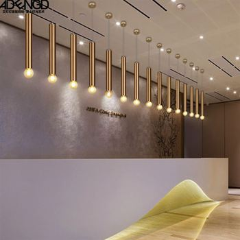 Nordic style designer led iron gold stick pendant light for dining room with golden single head hanging light