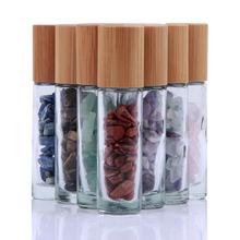 yaye 10pcs Natural Semiprecious Gemstones Essential Oil Roller Ball Bottles Transparent Glass With Bamboo Lid Caps 10ml