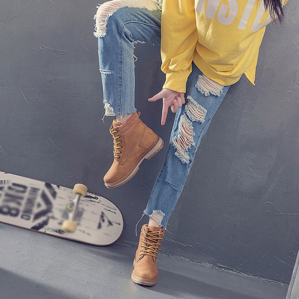Women Boots Solid Lace Up Casual Ankle Boots Round Toe Shoes Student Snow Boots Classic Winter Warm Ladies Shoes T## 30