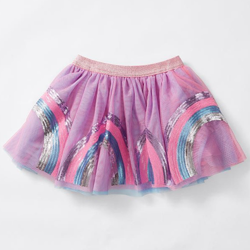 Infant Rainbow Tutu Baby Girls Skirt Mini Sequins Rainbow Purple Balls Girls Skirts Princess Party Ballet Dance Skirt Baby Skirt girls single breasted raw hem skirt