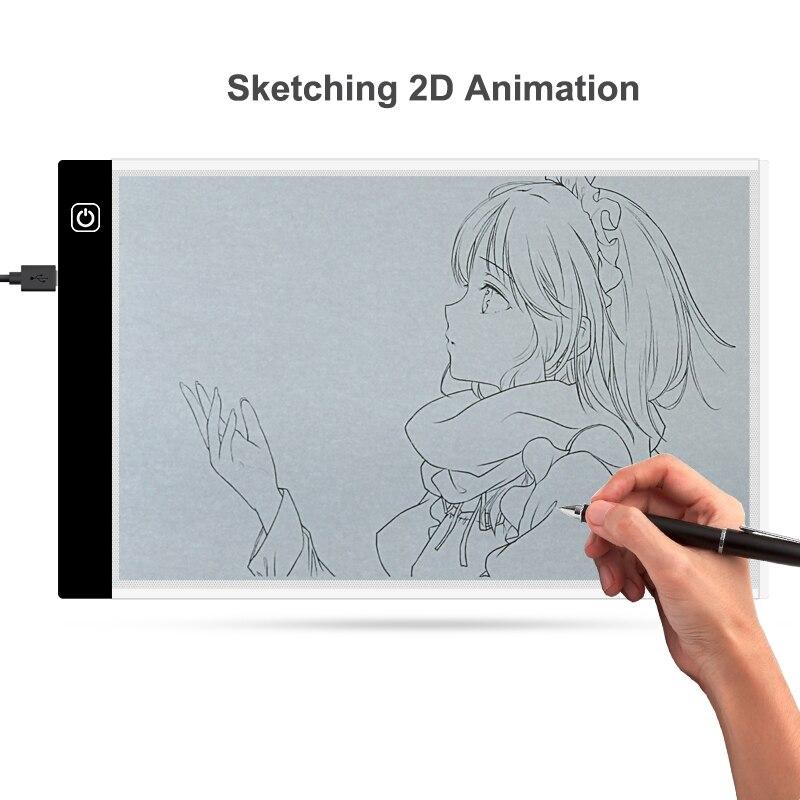 1 Set 0,4 Mm Ultra Dünne A4 Led Licht Pad Kopie Pad Tattoo Zeichnung Tablet Led Tracing Malerei Bord